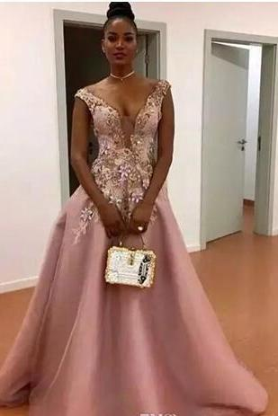 Blush Pink A Line Prom Dresses South African Sheer Neck Flora Appliques Evening Gowns Floor Length Zipper Back Formal Party Dress