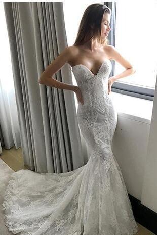 High Quality Mermaid Lace Wedding Dresses Sweetheart Neck Bridal Gowns Cheap Sweep Train Trumpet Buttons Back Wedding Dress