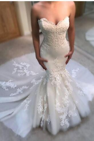 Stylish Mermaid Lace Wedding Dresses Sweetheart Neckline Appliques Cheap Bridal Gowns Sweep Train Tulle Trumpet Wedding Dress