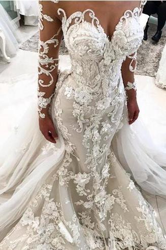 Amazing Mermaid Lace Wedding Dresses With Detachable Train Sheer Sweetheart Neck Bridal Dress Long Sleeves 3D Applique Trumpet Wedding Gowns