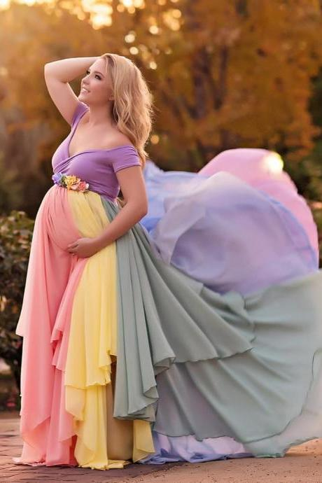 Colorful Chiffon Maternity Dresses For Photo Shoot With Short Sleeves Pregnant Gown Off The Shoulder Custom Made Maxi Dress