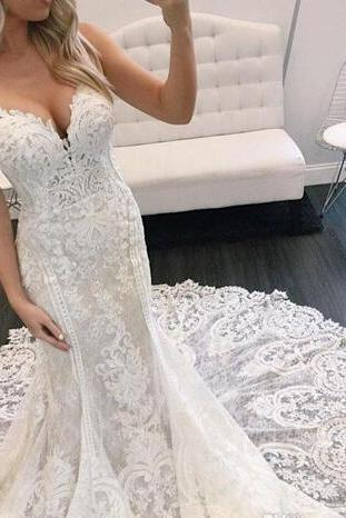 Gorgeous Mermaid Berta Lace Wedding Dresses Appliqued Straps V Neck Backless Bridal Gowns Chapel Plus Size Vestidos De Nnovia