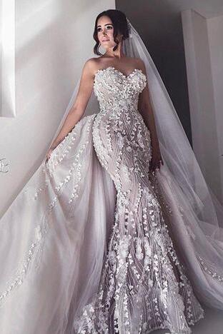 Luxury Beading Mermaid Wedding Dresses With Detachable Skirt Sweetheart Neck Bridal Gowns 3D Appliqued Trumpet Plus Size Vestidos De Nnovia