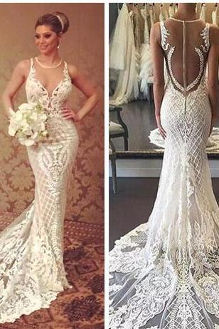 2018 Beautiful Berta Mermaid Wedding Dresses Lace Applique Sheer Jewel Neckline Bridal Gowns Slim Court Train Cheap Wedding Dress