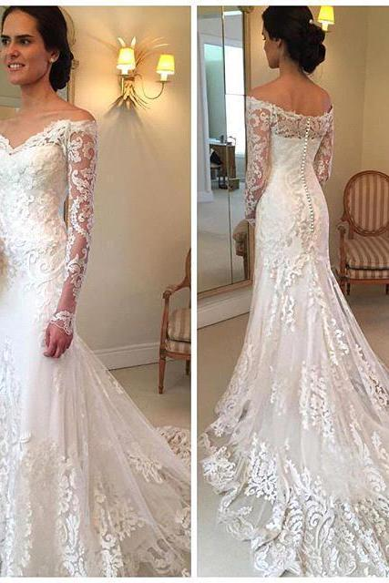 New Gorgeous Long Sleeve Lace Mermaid Wedding Dresses Dubai African Style Petite Natural Slin Fishtail Off-shoulder Train Bridal Gowns