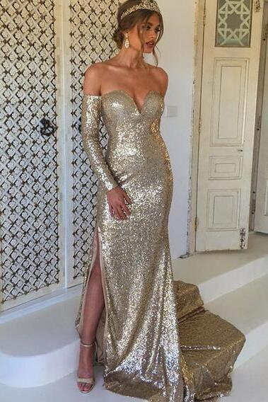 Sexy Sheath Champagne Prom Dress Sequined Lace Prom Dresses Long Evening Dress Formal Dresses