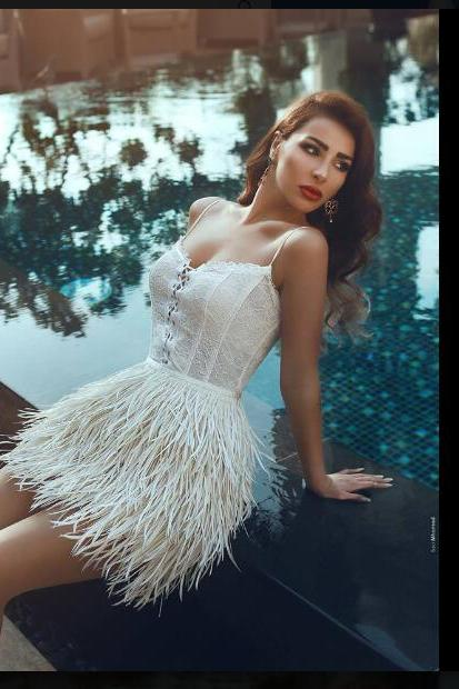 2018 Sexy Prom Dresses, Sheath Mini Short Prom Dresses, Feathers Prom Dress