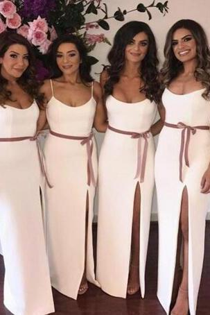 2018 Spaghetti White Long Bridesmaid Dresses With Sashes Side Split Maid Of Honor Gowns Custom Made Formal Party Gowns 2018 Evening Dresses