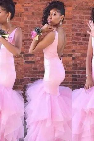 2018 Sexy Mermaid Pink Prom Gowns Plunging Sleeves Sleeveless Evening Dresses Backless Tiered Ruffle Custom Made Formal Party Gowns