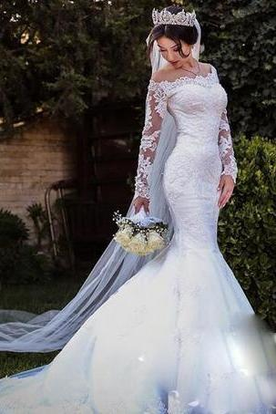 Modest Overskirts Wedding Dresses Off The Shoulder Illusion Long Sleeves Country Bridal Gowns Long Train Lace Wedding Dress Mermaid Style