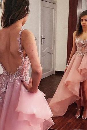 Dusty Pink High Low Prom Dresses Organza Exposed Boning Backless Evening Dress Sexy Custom made Spaghetti Straps Cocktail Party Dress