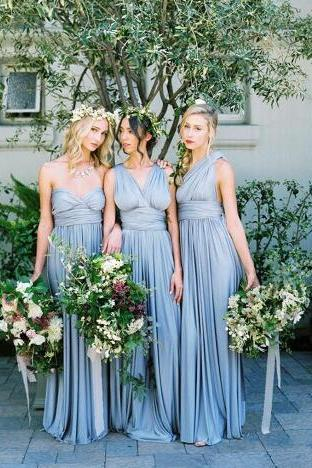 New 2018 Dusty Blue Convertible Bridesmaid Dresses Pleated Floor Length Country Beach Wedding Guest Dresses Cheap Prom Party Gowns
