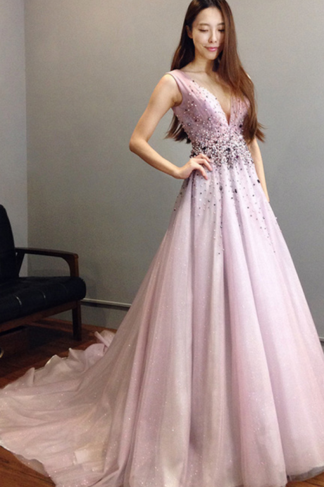 Charming Prom Dress, Sexy V Neck Prom Dresses, Purple Tulle Evening Dress, Formal Gown