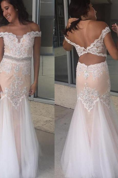Charming Prom Dress, Sexy Tulle Mermaid Prom Dresses, Off Shoulder Beaded Long Evening Dress