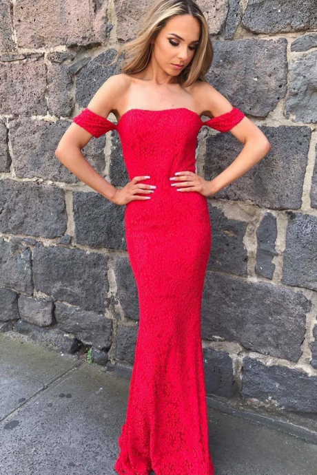 Red Mermaid Evening Dress, Sexy Long Mermaid Prom Dress, Strapless Prom Gowns