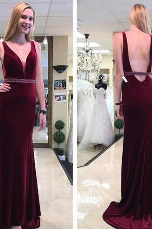 2018 Burgundy Sexy Plunging V Neck Velvet Prom Dresses Sleeveless Mermaid Sexy Backless Long Sweep Train Evening Party Gowns Pageant Gowns