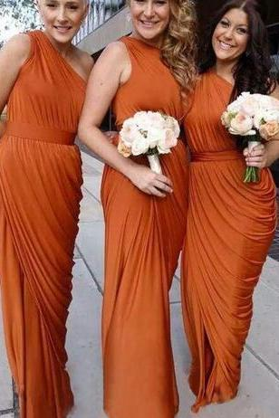 Custom Made One Shoulder Chiffon Sheath Bridesmaid Dresses 2018 Sleeveless Backless Floor Length Pleats Long Wedding Gowns Dresses
