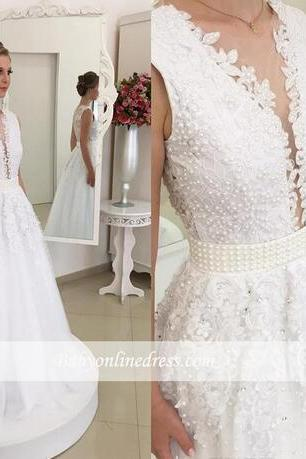 2018 New Design Plunging Deep V Neck Lace Wedding Dresses Sexy Backless with Buttons Appliques Chiffon Long Bridal Gowns Pearls Fitted Sash