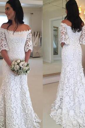 Vintage Lace Half Sleeve Wedding Gowns Bridal Dress 2018 Off Shoulder Sweep Train Bohemian Beach Wedding Dresses