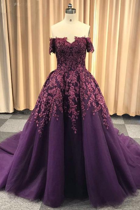 Purple tulle off shoulder strapless sweep train long winter formal prom dress