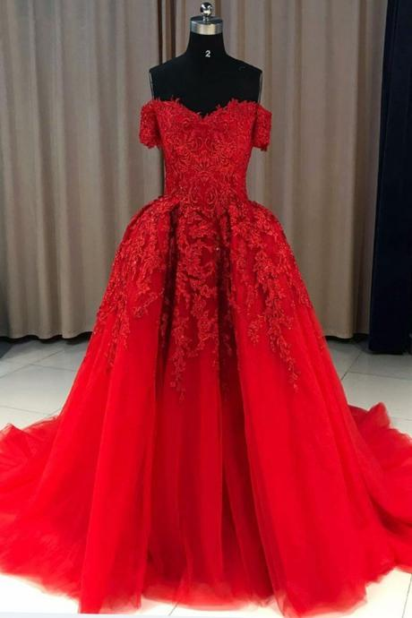 Red tulle off shoulder strapless sweep train long evening dress, red lace appliqués prom dress