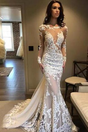 Illusion Sheer Lace Mermaid Wedding Dresses Jewel Neck Vestidos de novia 2018 Long Sleeve Bridal Gowns Sweep Train Beach Wedding Dress