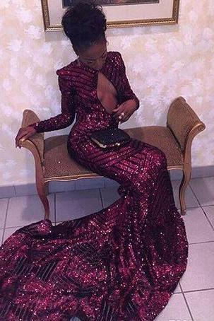 2018 sexy cheap plus size black girl prom dress vestido de festa long sleeves sequined burgundy prom dresses mermaid evening gowns