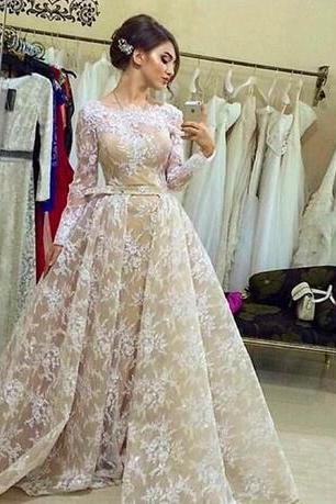 Long Sleeve Vintage Lace Robe De Soiree 2018 New Fashion with Detachable Train Long Wedding Gowns Christmas Bridal Dresses