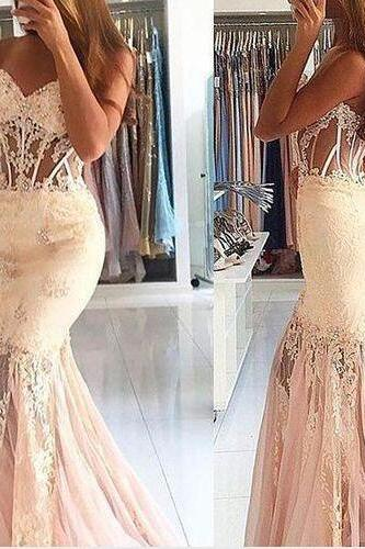 Sheer Sweetheart Mermaid Prom Party Dresses Backless With Boning Beige Full Long Evening Gowns Custom Made