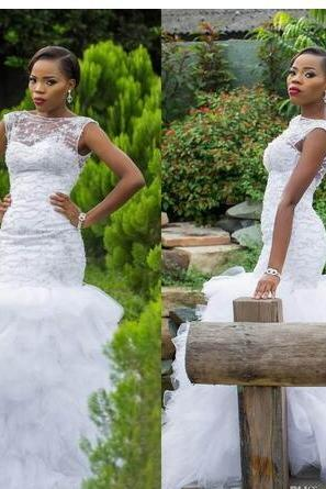 Africa Cap Sleeves Mermaid Wedding Dresses Elegant Beading Tiered Ruffles Chapel Train Tulle Custom Made Bridal Gowns Country Style Vestidos