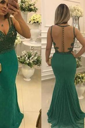 Lace Long Prom Dresses 2018 V Neck Appliques Beading Sexy Illusion Back Mermaid Evening Gowns Formal Women Party Dress