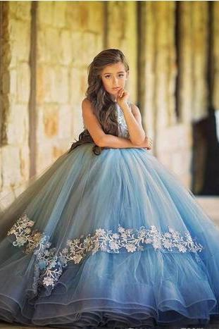 Sky Blue Ball Gown Girls Pageant Dresses Tulle Lace Appliques Jewel Flower Girls Dresses For Weddings Floor Length Cute Kids Birthday Dress