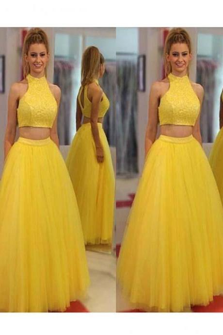 2018 Two Piece Yellow Prom Dress Cheap Long Prom Dress