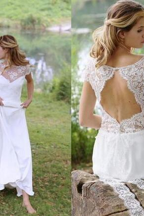 Plus Size Wedding Dresses Long 2018 Short Sleeves Chiffon Sheer Neck A Line Bride Gowns Open Back Romantic Boho Wedding Dress