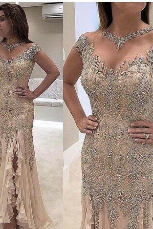 Sparkly Sequins Appliques Plus Size Mermaid Mother of Bride Dresses Sheer Neck Cap Sleeves Formal Evening Prom Gowns Mother Wedding Party Dress