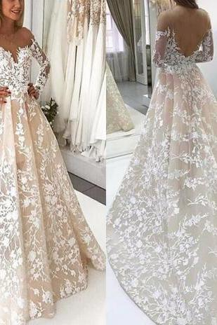 Delicate Lace Appliques A Line Wedding Dresses Sheer Backless Vestidos 2018 New Scoop Neckline Arabic Bridal Gowns Modern Weddings