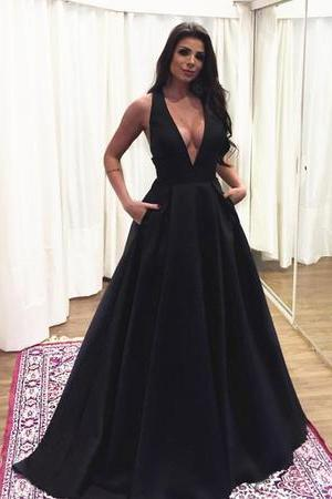 Sexy Plunge V-neck Long Satin Prom Dresses 2018 Backless Evening Gowns