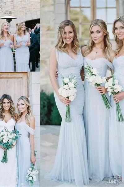 2018 Chiffon Cheap Custom Popular Mismatched Fashion Bridesmaid Dresses, bridals dresses