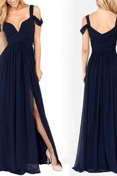 2018 Most Popular Charming Side Split Chiffon Navy Blue Formal Zipper Back Bridesmaid Dresses