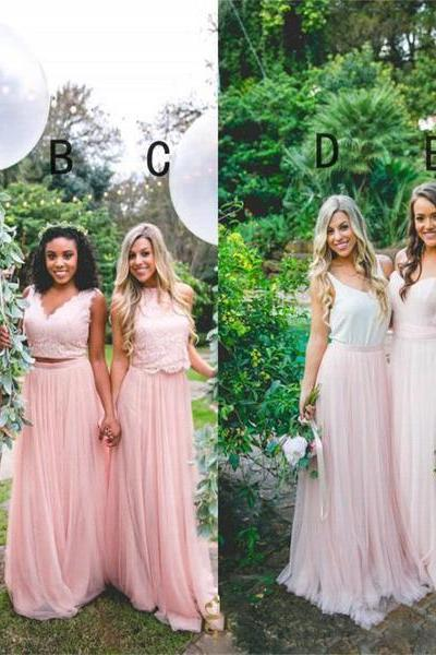 Cheap Custom Modern Fashion Bridesmaid Dress, Blue and Pink Mismatched Bridesmaid Dresses