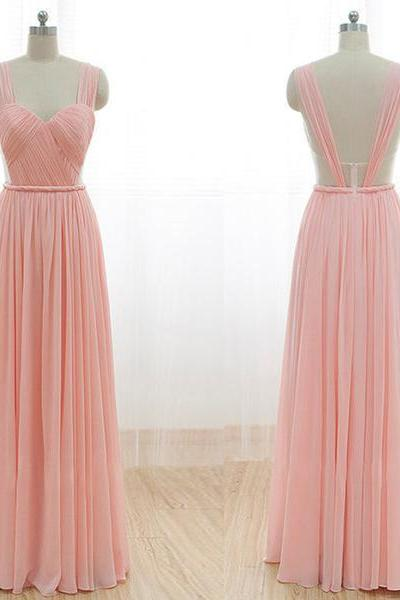 Cheap Junior Long Chiffon Pink Off Shoulder Sweet Heart Open Back Bridesmaid Dresses