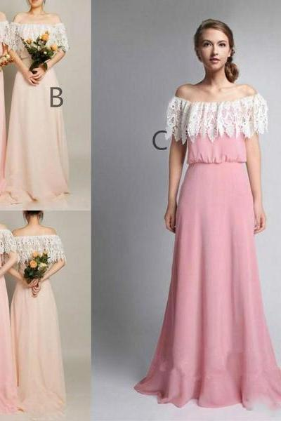 Custom Made Off Shoulder Lace Floor Length Chiffon Guest Wedding Dress, Maid of Honor Dress