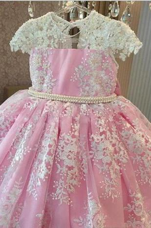Classy Pink Pearls Lace Ball Gown Flower Girls Dresses For Wedding Appliques Birthday Gowns Floor Length Tulle First Communion Dress