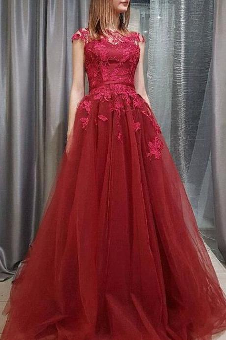Burgundy A-line Lace and Tulle Long Formal Dress 2018, Charming Party Dress, Formal Gowns