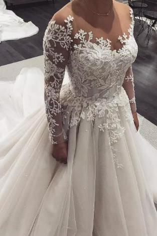 Vintage Sheer Neck 2018 Plus Size Lace Wedding Dresses Long Sleeves Applique Court Train Wedding Bridal Gowns vestido de novia