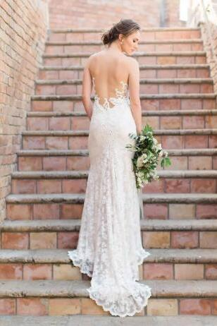 Sexy Full Lace Mermaid Wedding Dresses Sheer Neck Illusion Back Sweep Train Wedding Dress Bridal Wedding Gowns From China vestidos de novia