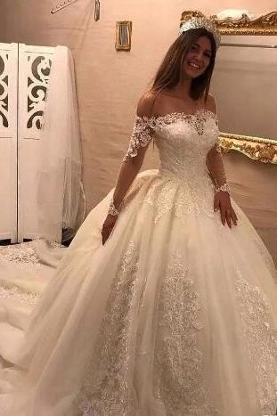 New Ball Gown Wedding Dresses Off Shoulder Long Illusion Sleeves Chapel Train Wedding Dress Bridal Gowns Custom