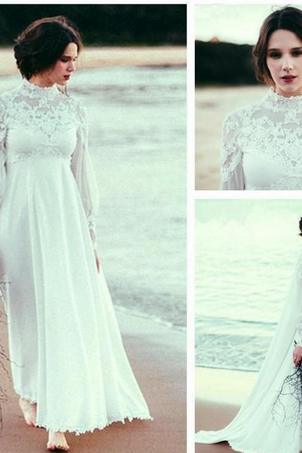 Elegant High Neck Long Sleeve Empire Beach Wedding Dresses Lace Chiffon Floor Length Bridal Gowns Custom Size 2018 Wedding Dress