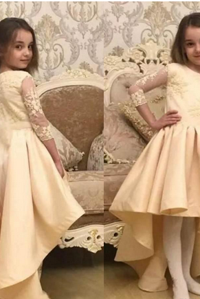 Girls Pageant Dresses Lace Applique 3/4 Long Sleeve Formal For Church Weddings Flower Girl Dresses 2018 Birthday Party Dresses