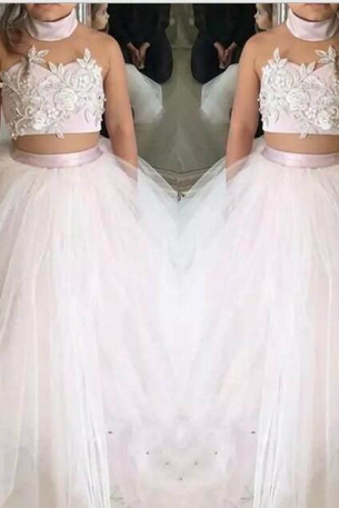 Two-pieces Lace Girls Pageant Dresses Tulle Appliques Ball Gown Kids Formal Wear Flower Girl Dresses